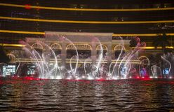 Wynn Hotel  Macau fountain show. MACAU - MARCH 07 : The Wynn Hotel  Macau fountain show on March 07 , 2018 in Macau. There is 1,200 water jets shooting up to Stock Photos