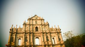 Macau historical architecture Ruins of St. Paul`s stock photos