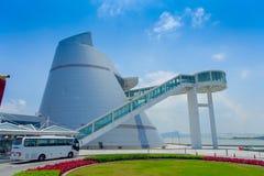 Macau nauki centrum, wyróżniający, asymmetrical, conical kształta budynek z ślimakowatym przejściem, Macau nowożytny fotografia royalty free