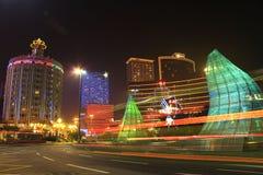 Macau Night. Surrounded by casino Building Stock Image
