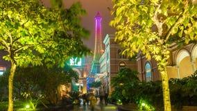 Macau night light hotel walking street panorama 4k time lapse china stock footage