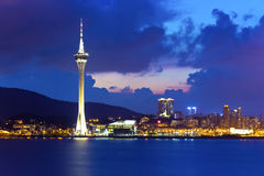 Macau at night with modern buildings background Royalty Free Stock Photos