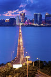 Macau at night with moving cars Stock Image