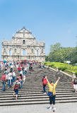 Macau - Oct 16, 2015: Ruins of St. Paul's. Built from 1602 to 16 Stock Images