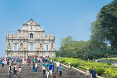 Macau - Oct 16, 2015: Ruins of St. Paul's. Built from 1602 to 16 Royalty Free Stock Photo