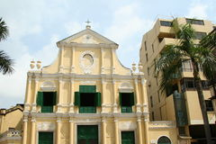 Macau: Portuguese style church in historic center Royalty Free Stock Photo
