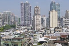 Macau residential area buildings exterior, Macau, China. Royalty Free Stock Photos