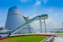 Macau Science Center, a distinctive, asymmetrical, conical shape building with a spiral walkway, Macau. Modern. Architecture Stock Photos