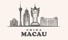Macau skyline, China vintage illustration stock illustration