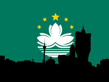 Macau skyline with flag Royalty Free Stock Photos