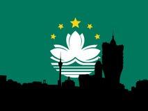 Macau skyline with flag Royalty Free Stock Photos