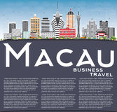 Macau Skyline with Gray Buildings. Blue Sky and Copy Space. Vector Illustration. Business Travel and Tourism Concept with Modern Architecture. Image for vector illustration