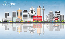 Macau Skyline with Gray Buildings, Blue Sky and Reflections. Royalty Free Stock Photos