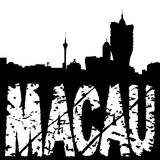 Macau skyline with grunge text Royalty Free Stock Images