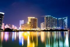 Macau skyline at night Royalty Free Stock Photos