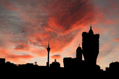 Macau skyline at sunset Stock Photography