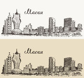 Macau skyline vector illustration hand drawn Stock Photos
