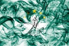 Macau smoke flag, dependent territory flag. On a white background Royalty Free Stock Photo
