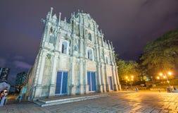 Macau St Paul Church at night Stock Photos