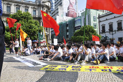 Macau student demonstrations. Expressing the conflict between China and the islands of Japan Royalty Free Stock Photos