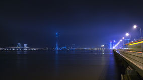Macau Tower and Bridges at Night. Stock Image