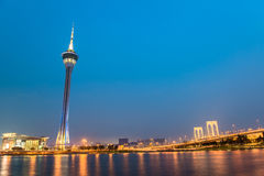 Macau tower, the famous landmark of Macau with the illumination shows Stock Photo
