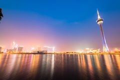 Macau tower, the famous landmark of Macau with the illumination shows Stock Image