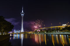 The Macau Tower and fireworks show Royalty Free Stock Image
