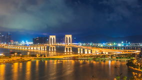 Macau Tower And Macau Bridge Landmark Place Of Macau China On Night Time stock video