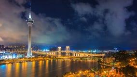 Macau Tower And Macau Bridge Landmark Place Of Macau China On Night Time stock footage