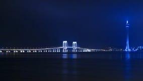Macau Tower and Sai Van Bridge at Night. View from the Taipa. Royalty Free Stock Image