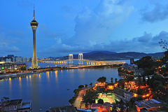 Macau tower under blue sky in twilight Royalty Free Stock Photography