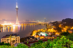 Macau Tower. Woth urban ladscape, Macao China at night Stock Photos