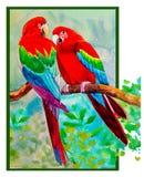 Macaw bird couple birds on a branch amidst beautiful nature. Stock Photos