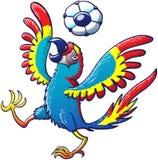 Macaw fresco que juega con un balón de fútbol en su cabeza ilustración del vector