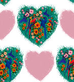 Macaw hearts seamless pattern. Hand drawn image. Royalty Free Stock Image