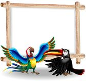 Macaw and Toucan Cartoon Background Royalty Free Stock Image