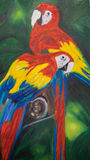 Macaws oil painting. Original oil painting of 2 long tailed macaws. This painting was done by Felicity Thompson, a local artist from Australia vector illustration