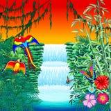 Macaws y mariposas de la cascada en paisaje exótico en el ejemplo Naif del vector del estilo de la selva stock de ilustración
