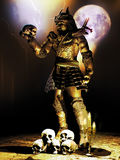 Macbeth samurai. Samurai contemplating a skull at the foreground of lightnings under the full moon Stock Image