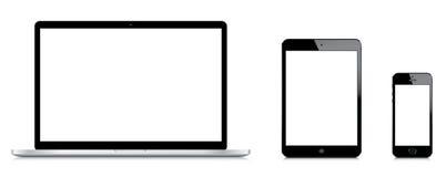 Macbook赞成的iPad和iPhone 5s比较微型 库存图片