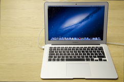 Macbook air. In apple store, 235 Regent Street London, England Royalty Free Stock Photography