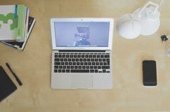 MacBook Air Notebook Computer on Desk Stock Photo