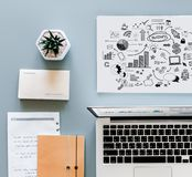 Macbook Air Beside Printing Paper Royalty Free Stock Photography