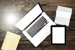 Macbook. Laptop wood blank work writer internet Stock Image