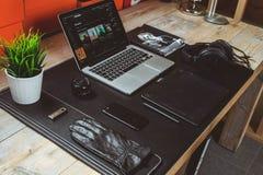 Macbook Pro on Desk Stock Photo