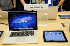 Macbook pro display in Apple store Royalty Free Stock Image