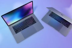 MacBook Pro escena colorida de 15 ordenadores portátiles de la pulgada imagen de archivo libre de regalías