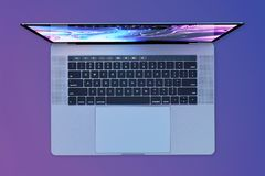 MacBook Pro 15 inch style laptop computer, top view. Laptop computer, similar to MacBook Pro 15 inch, 2018, silver. Purple background, glowing screen light royalty free illustration