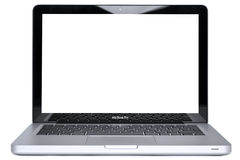 MacBook Pro isolated with clipping path. Hi-res photo of the new 2011 Apple MacBook Pro, isolated on a white background with clipping paths for the laptop and Stock Photo